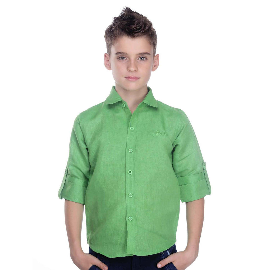 Linen Green Shirt - mashup boys