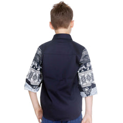MashUp Fusion Print Navy Blue Shirt - mashup boys