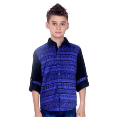 MashUp Blue Printed Coduroy Shirt - mashup boys