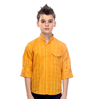 MashUp Preppy Yellow Mandarin Collar Cotton Shirt - KRAZYLA