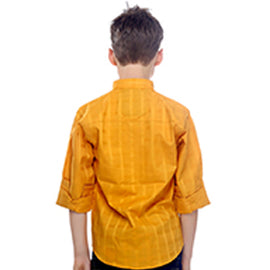 MashUp Preppy Yellow Mandarin Collar Cotton Shirt - mashup boys