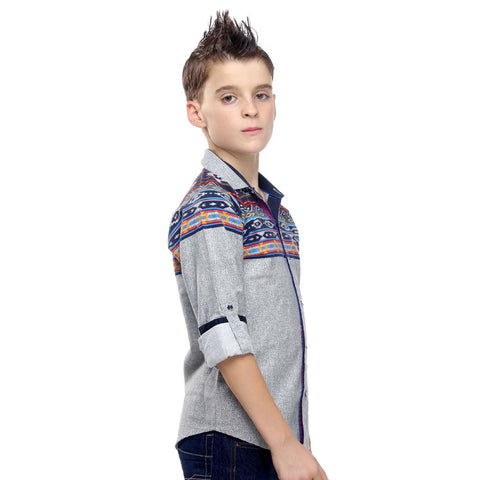 MashUp Aztec Print Grey Shirt - mashup boys