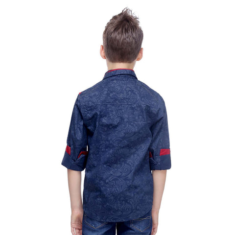 MashUp Paisley Print Blue Shirt - mashup boys