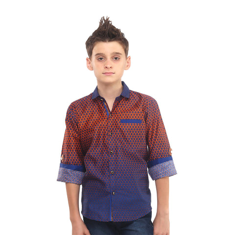 MashUp Mesh Print Orange Shirt - KRAZYLA