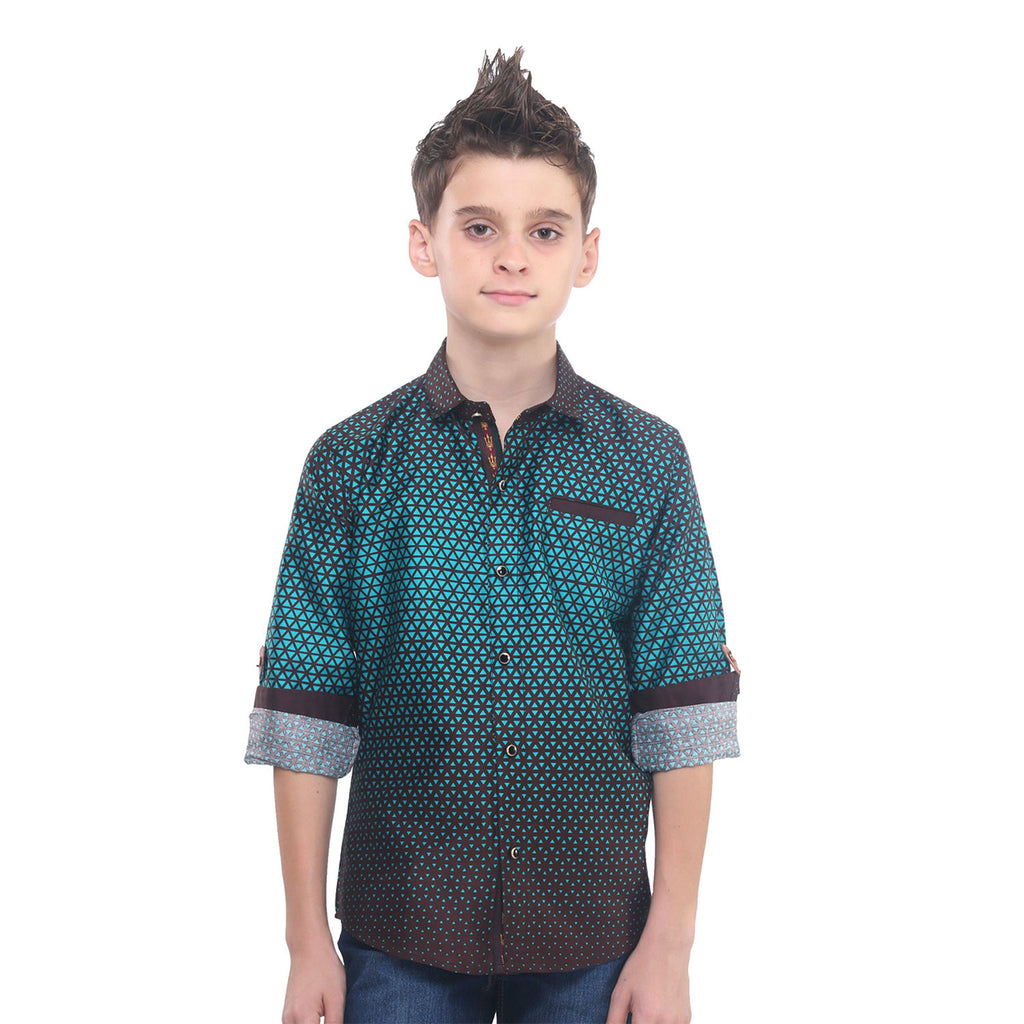 MashUp Sea Green Mesh Print Shirt - mashup boys