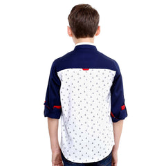 MashUp Yatch Print White and Navy Shirt - mashup boys