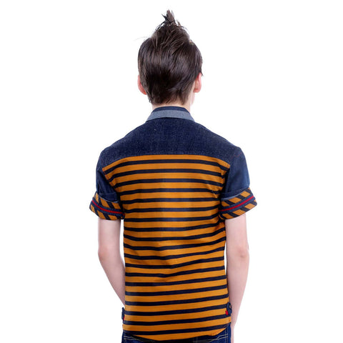 MashUp Mustard Striped Denim Shirt - KRAZYLA