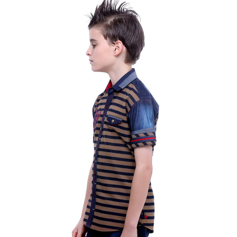 MashUp Beige Striped Denim Shirt - mashup boys