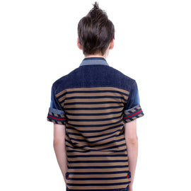 MashUp Beige Striped Denim Shirt - KRAZYLA