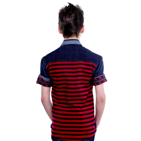 MashUp Red Striped Denim Shirt - KRAZYLA
