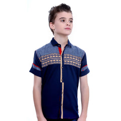 MashUp Navy Blue Ethnic Pattern shirt - KRAZYLA