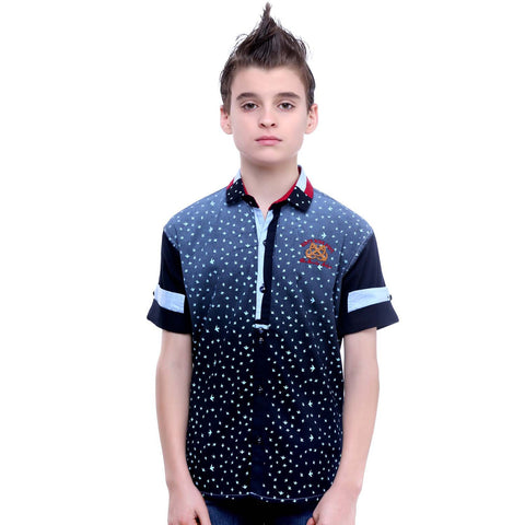 MashUp Bird Print Navy Blue Shirt - mashup boys