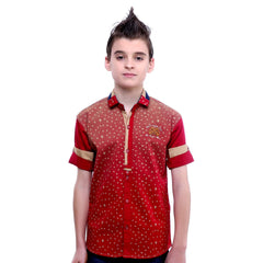 MashUp Bird Print Red Shirt - KRAZYLA