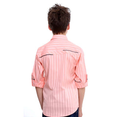 MashUp Peach Designer Shirt with Polka Dot Bowtie - KRAZYLA