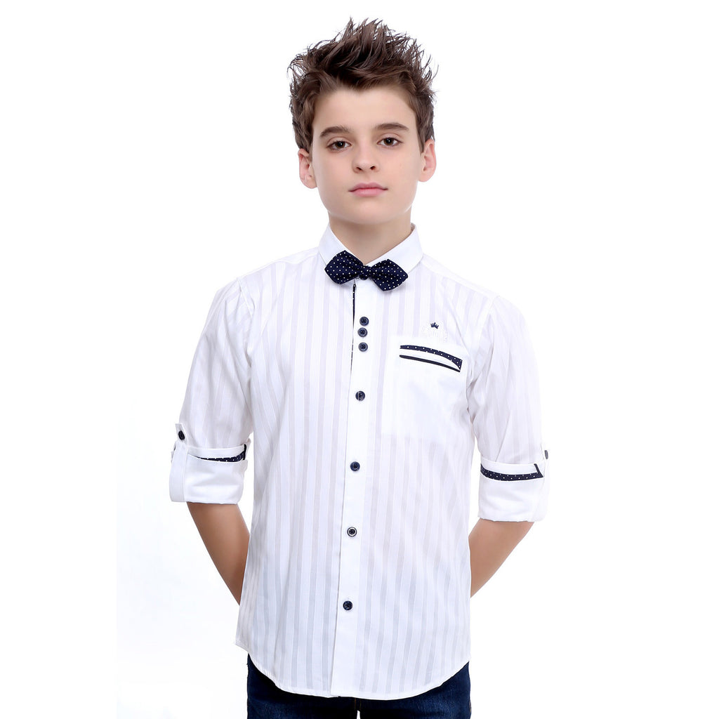 MashUp White Designer Shirt with Polka Dot Bowtie - mashup boys