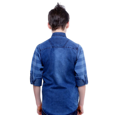 MashUp Denim Shirt with Red Tie Combo - KRAZYLA