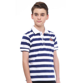 MashUp Super Stripes – Blue & White Polo Tshirt - KRAZYLA