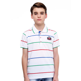 MashUp Super Stripes – White Polo Tshirt - KRAZYLA