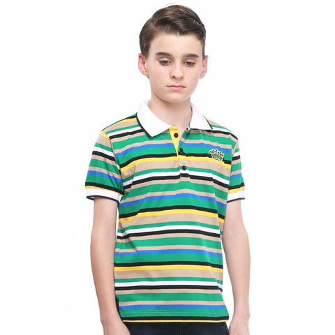 MashUp Super Stripes - Green Polo Tshirt - KRAZYLA