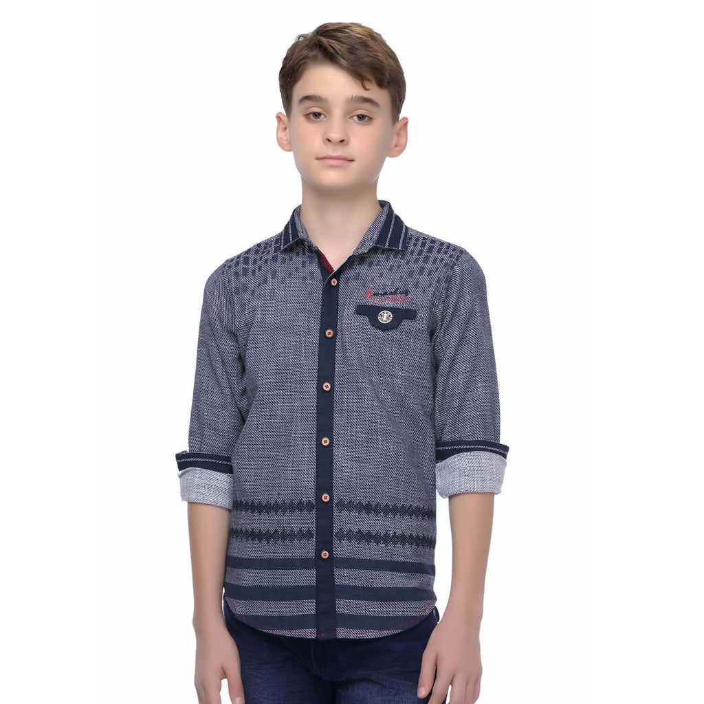 MashUp Woven Casual Blue Shirt - mashup boys