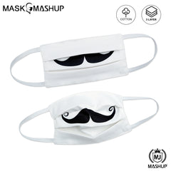 MashUp Fashion Mask,Handlebar Mustache printed 3-layer reusable washable cloth face mask (Pack of 2)(Kids Size)(Universal Fit)Handlebar Mustache Black Cloth Face Mask - mashup boys