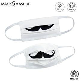 MashUp Fashion Mask,Handlebar Mustache printed 3-layer reusable washable cloth face mask (Pack of 2)(Kids Size)(Universal Fit)Handlebar Mustache Black Cloth