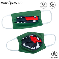 MashUp Fun Mask,Cartoon Monster Mouth Printed 3-layer Reusable Washable Protective Face Mask(Pack of 2)(Kids Size)(Universal Fit) - MASHUP