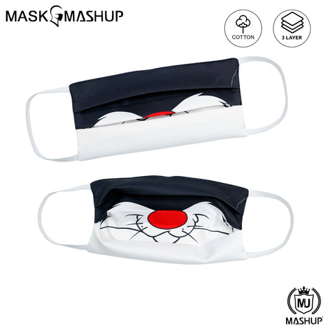 MashUp Fun Mask,Sylvester the Cat Printed 3-layer Reusable Washable Protective Face Mask(Pack of 2)(Kids Size)(Universal Fit) - MASHUP