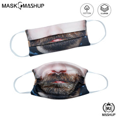 MashUp Fashion Mask,funny humour hipster man beard 3-layer reusable washable cloth face mask (Pack of 2)(Kids Size)(Universal Fit) - MASHUP