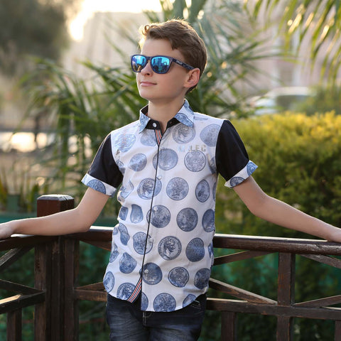 MashUp Coin Print White Shirt - mashup boys
