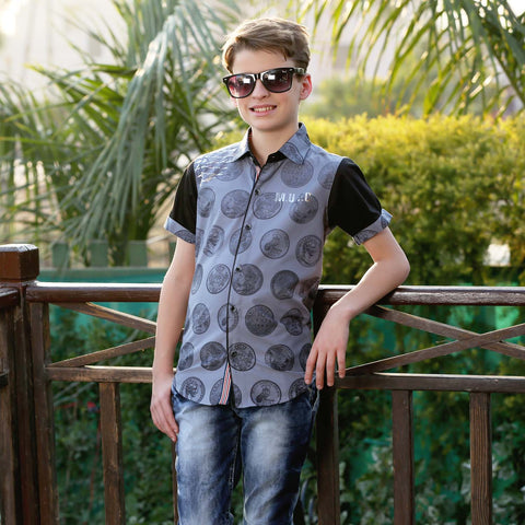 MashUp Coin Print Grey Shirt - MASHUP