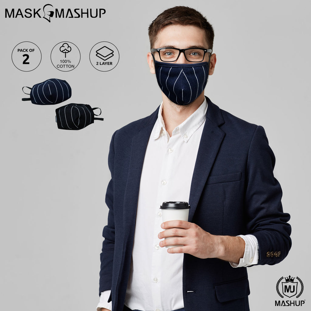 MashUp Fashion Mask,Kids Multicolored 2-layer Anti Pollution & Anti Dust Washable/Reusable protective face Mask (Pack of 2) - mashup boys