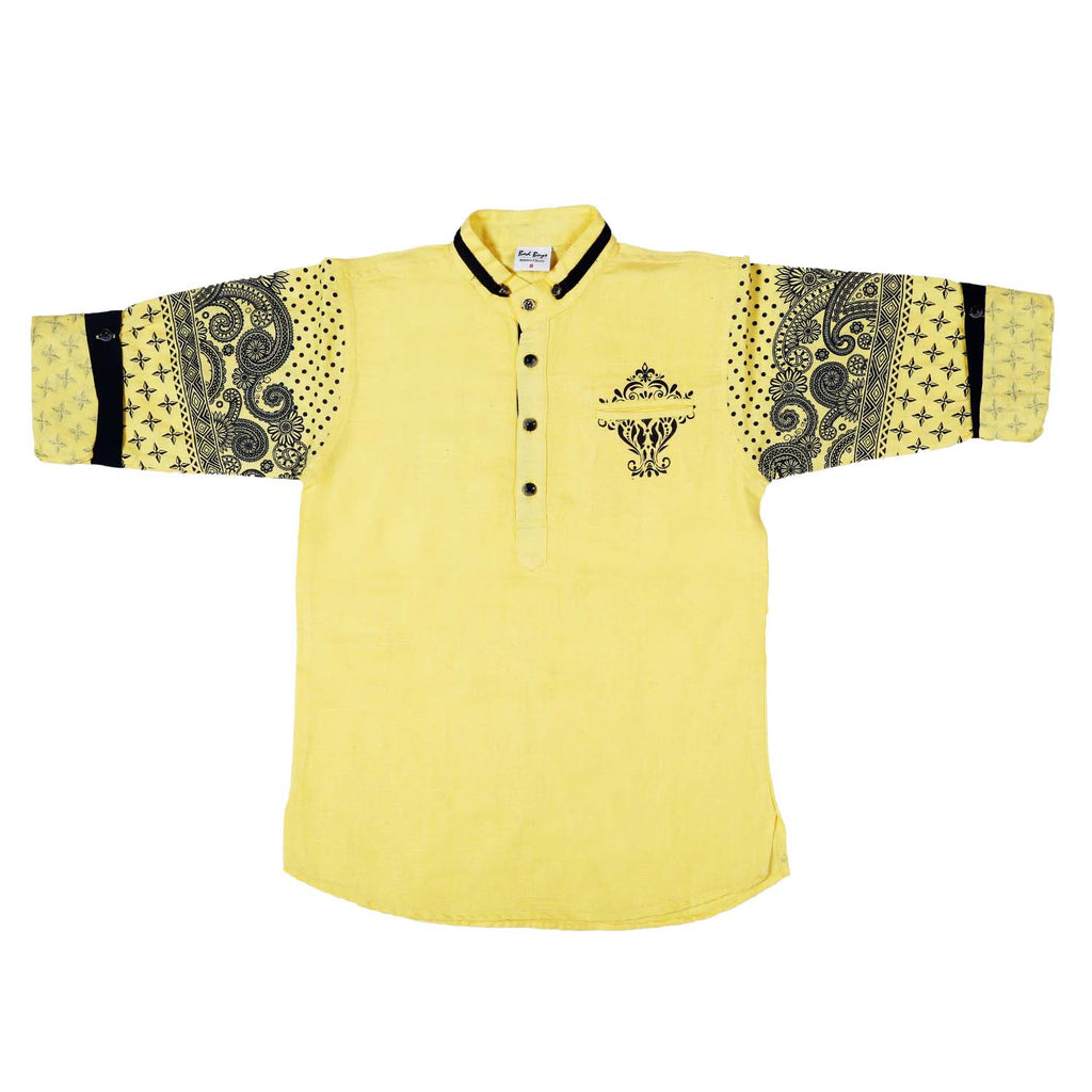 Bad Boys printed sleeves Yellow kurta shirt - mashup boys