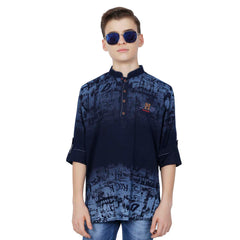 Denim Indigo Print kurta from the house of Mashup - mashup boys