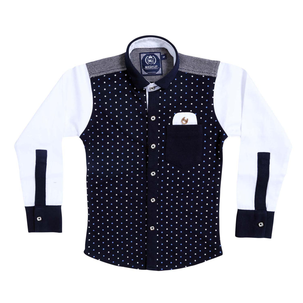 MashUp Superstar Print Navy Blue Shirt - KRAZYLA