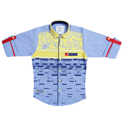 MashUp Graphic Print Blue Shirt - KRAZYLA
