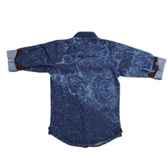 Mashup Wave Print Denim Shirt - KRAZYLA