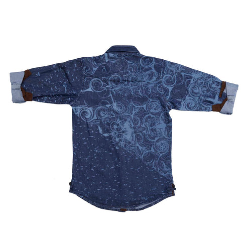 Mashup Wave Print Denim Shirt - mashup boys