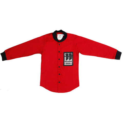 MashUp  Red Baseball Collar Shirt - KRAZYLA
