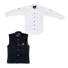 MashUp dapper Nehru jacket and geometric print shirt. - mashup boys