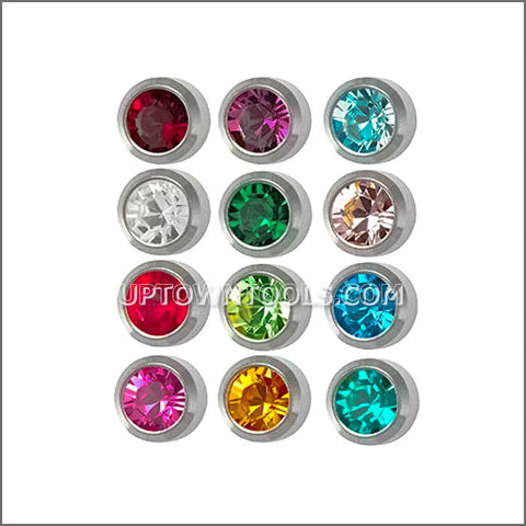 "STUDEX Ear Piercing / STUDEX EARRINGS / STUDEX PIERCING /  M213W STAINLESS MINI BIRTHSTONE ""ASSORTED"""