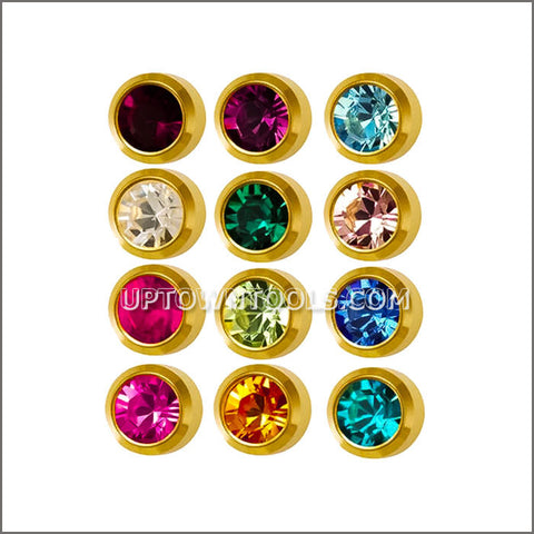 "STUDEX Ear Piercing  / STUDEX EARRINGS / STUDEX PIERCING / SURGICAL EAR PIERCING STUDS / GOLD PLATED MINI BIRTHSTONE ""ASSORTED""-M213Y"