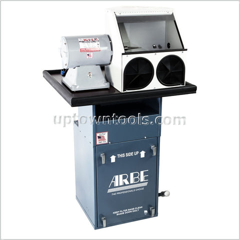 ARBE Polishing System w/ 1/2 hp Dust Collector, 3/4 H.P. Single Spindle Motor & Enclosed Hood