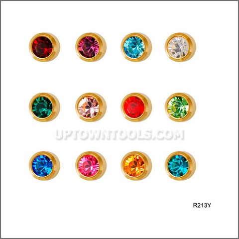 "STUDEX Ear Piercing /STUDEX EARRINGS / STUDEX PIERCING /  GOLD PLATED REGULAR BIRTHSTONE ""ASSORTED""-R213Y"