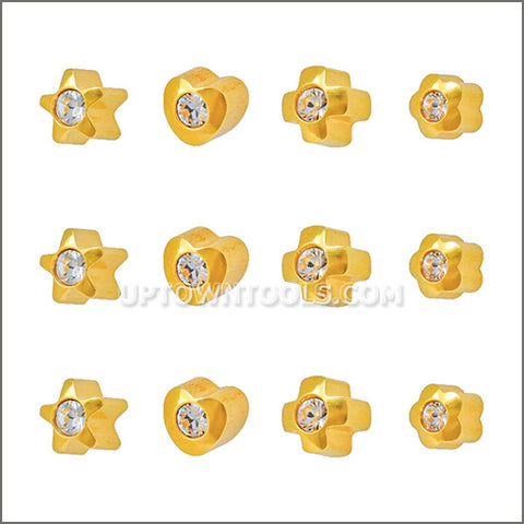 "STUDEX Ear Piercing /STUDEX EARRINGS / STUDEX PIERCING /  GOLD PLATED REGULAR SHAPELITES APR CRYSTAL ""ASSORTED""-R513Y-4"