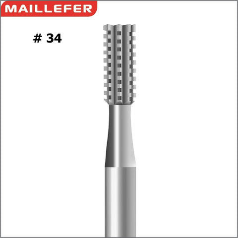 SWISS MAILLERFER CYLINDER SQUARE CROSS CUT BUR ( #34 ) SIZE:006-027