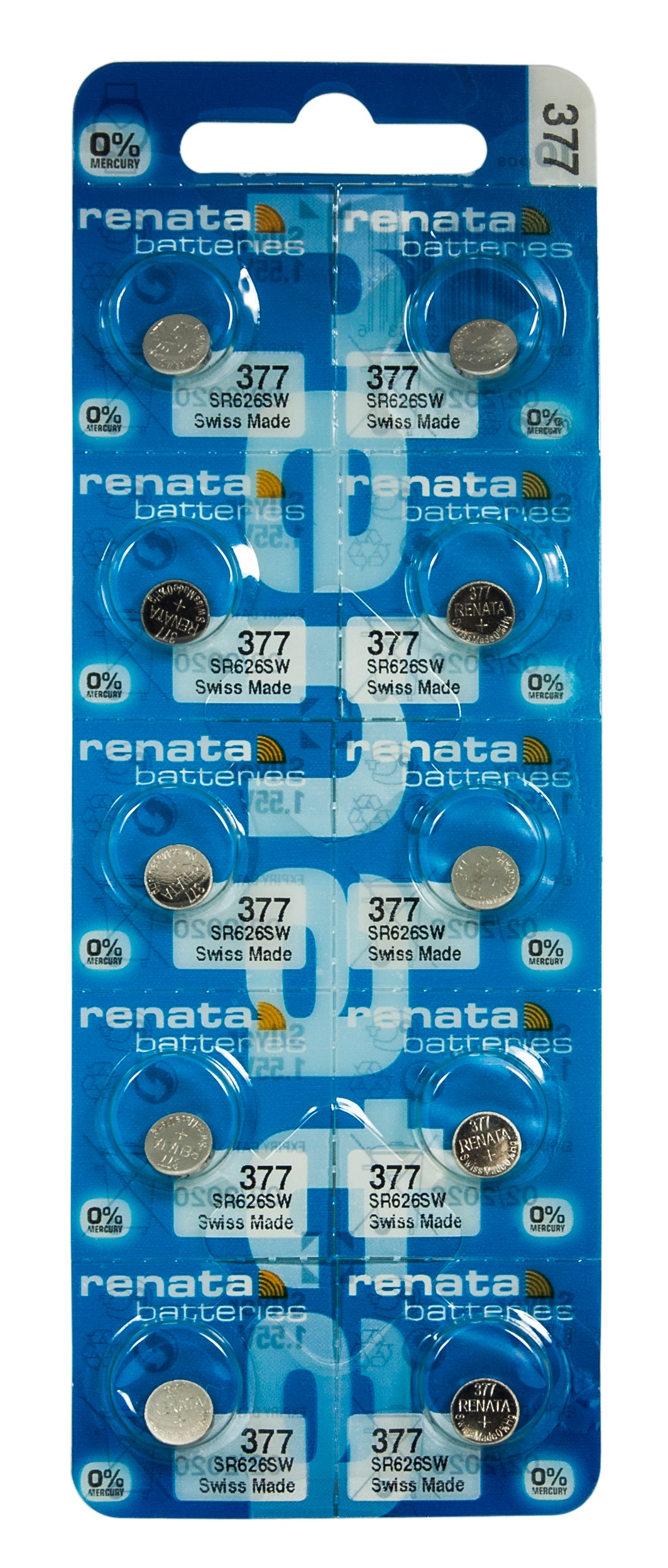 RENATA  377 ( SR626SW )   Silver Oxide Batteries (High Drain), 1.55 V-1 STRIP (5pcs)