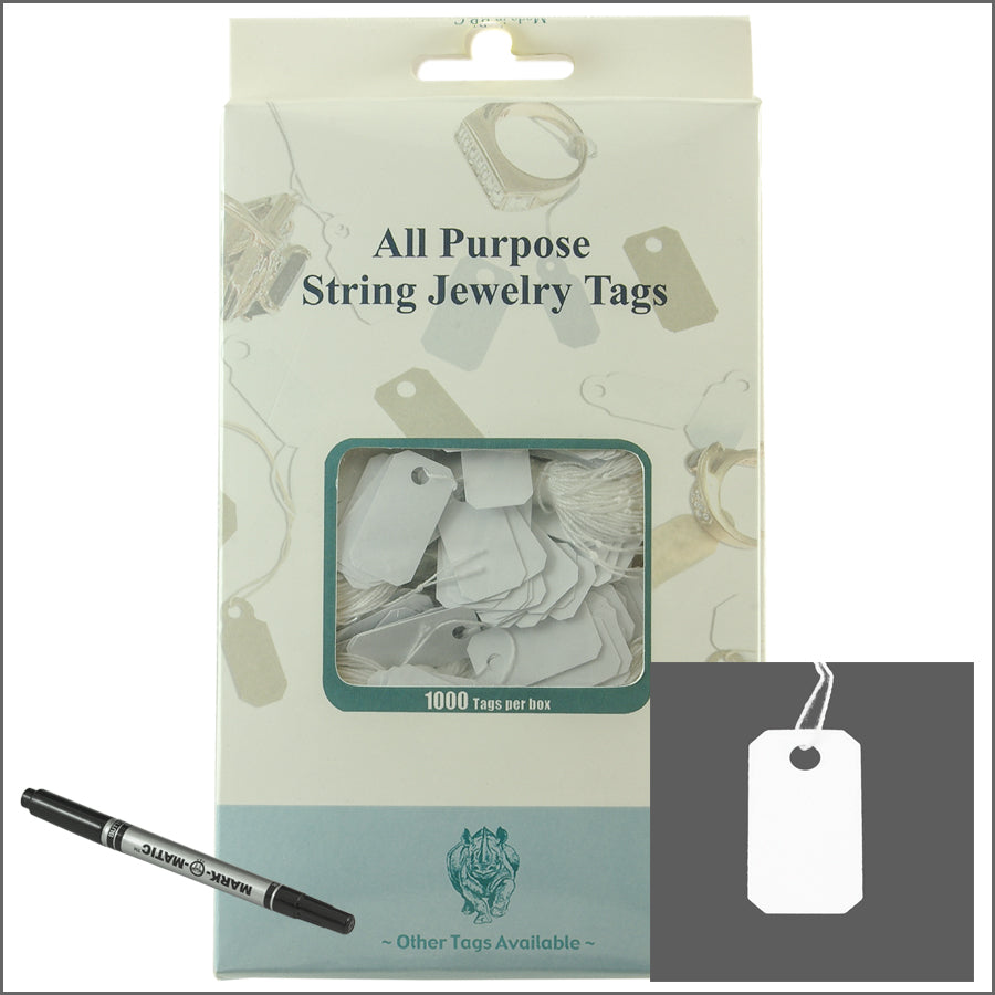all purpose White String jewelry Tags 13mm x 25mm