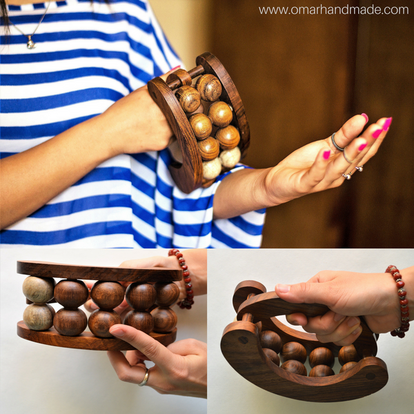 Rosewood massage tool with 10 rolling balls