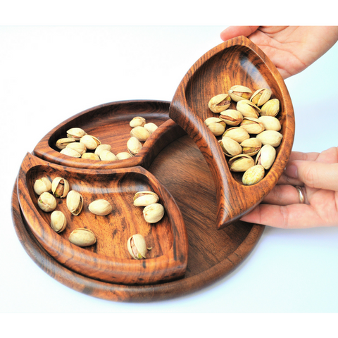 Wooden nut platter with three (comma) bowls